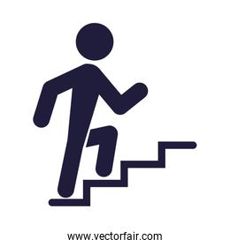 silhouette human climbing stairs signal airport icon