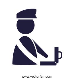 silhouette immigration officer with suitcase signal airport