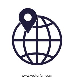 sphere planet with pin location isolated icon