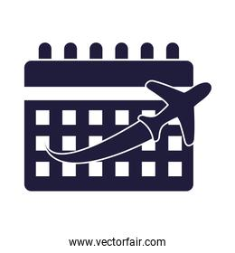airplane flying transport with calendar reminder