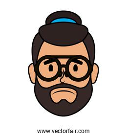 head man bearded with hat and eyeglasses