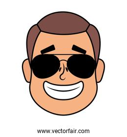 young man head with sunglasses character