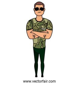 young man with military clothes character