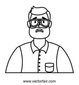 young man with beard and eyeglasses character