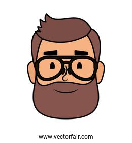 young man head with beard and eyeglasses