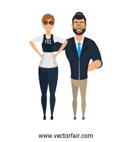 young man bearded with fbi female agent