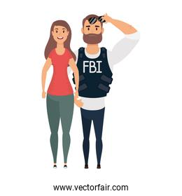 young man fbi agent with woman characters