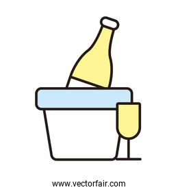 wine bottle and cup isolated icon