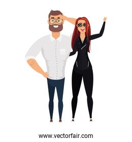 young man bearded with rude woman characters