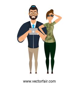 young man bearded with military female agent