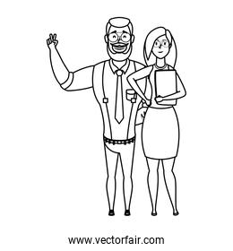 young man bearded with woman characters