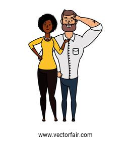 young man with afro woman characters