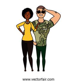 young military man with afro woman characters