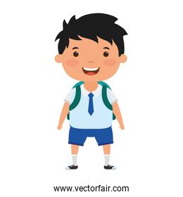 cute little student boy character