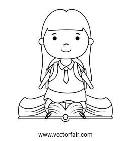 cute little student girl seated in book character
