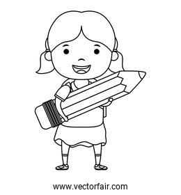 cute little student girl with pencil character