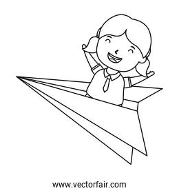 cute little student girl with paper airplane