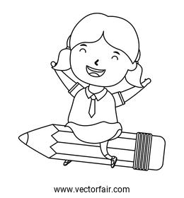 cute little student girl seated in pencil character