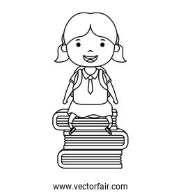 cute little student girl seated in books