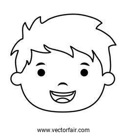 cute little boy head comic character