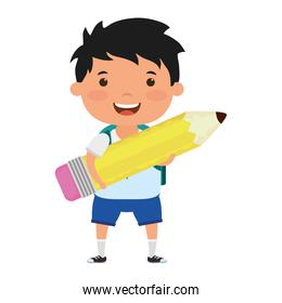cute little student boy with pencil character