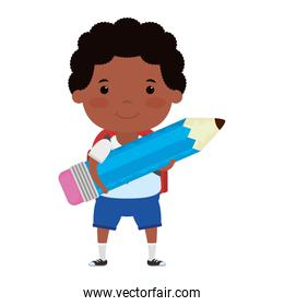 cute little afro student boy with pencil character