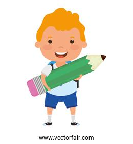 cute little blond student boy with pencil character