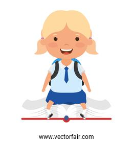 cute little student blond girl seated in book character