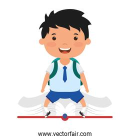 cute little student boy seated in book character