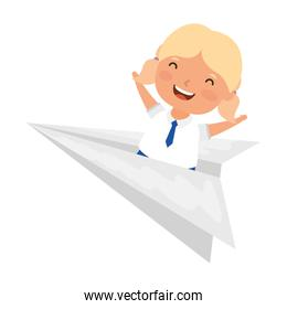 cute little student blond girl with paper airplane
