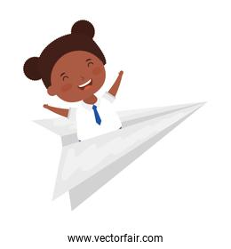 cute little student afro girl with paper airplane