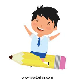 cute little student boy with seated in pencil