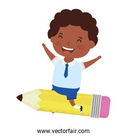 cute little afro student boy with seated in pencil