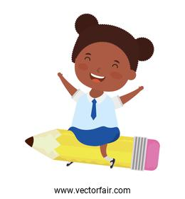 cute little student afro girl seated in pencil character