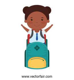 cute little student afro girl with schoolbag character
