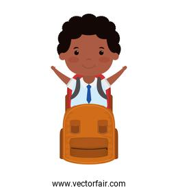 little student afro boy with schoolbag character