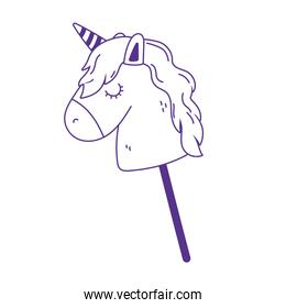 kids toy horse in stick icon design white background line style