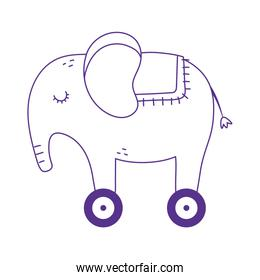 kids toy elephant with wheels icon design white background line style