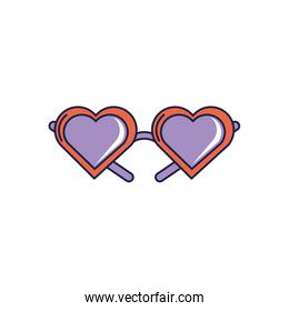 happy birthday, glasses shaped hearts accessory celebration party line and fill style