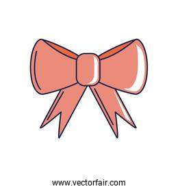 happy birthday, red gift bow decoration celebration party line and fill style