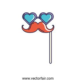 happy birthday, moustache on stick with glasses mask celebration party line and fill style