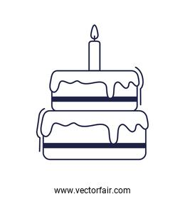 happy birthday, sweet cake with candle celebration party line style icon