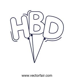 happy birthday, letter bunch decoration celebration party line style icon