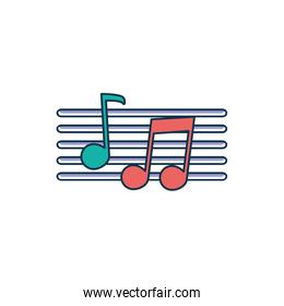 musical notes pentagram melody sound music line and fill style