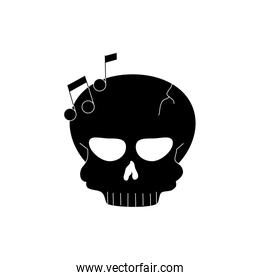 skull note musical melody sound music silhouette style icon