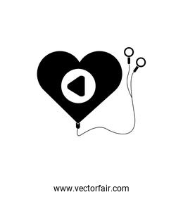 mp3 heart shaped headphones melody sound music silhouette style icon