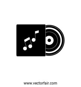 vinyl in case melody sound music silhouette style icon