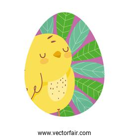 happy easter cute chicken and leaves painted in egg decoration