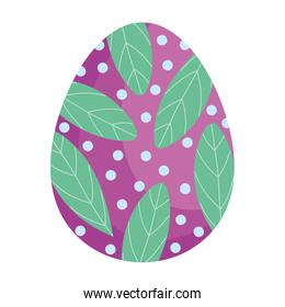 happy easter decorative egg leaf dots ornament season icon