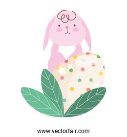 happy easter pink rabbit and decortive egg foliage